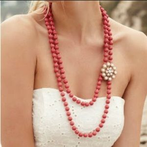 Stella & Dot coral beaded necklace